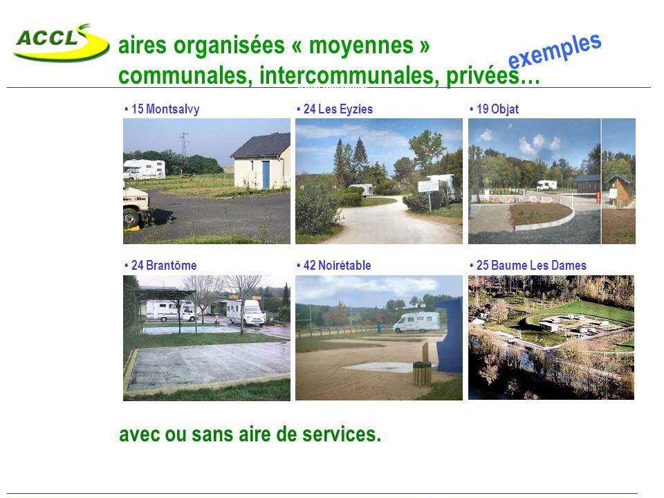 aires organisées « moyennes » communales, intercommunales, privées…