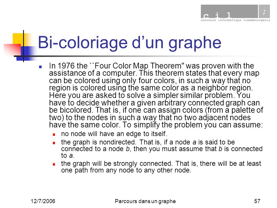 Bi-coloriage d'un graphe