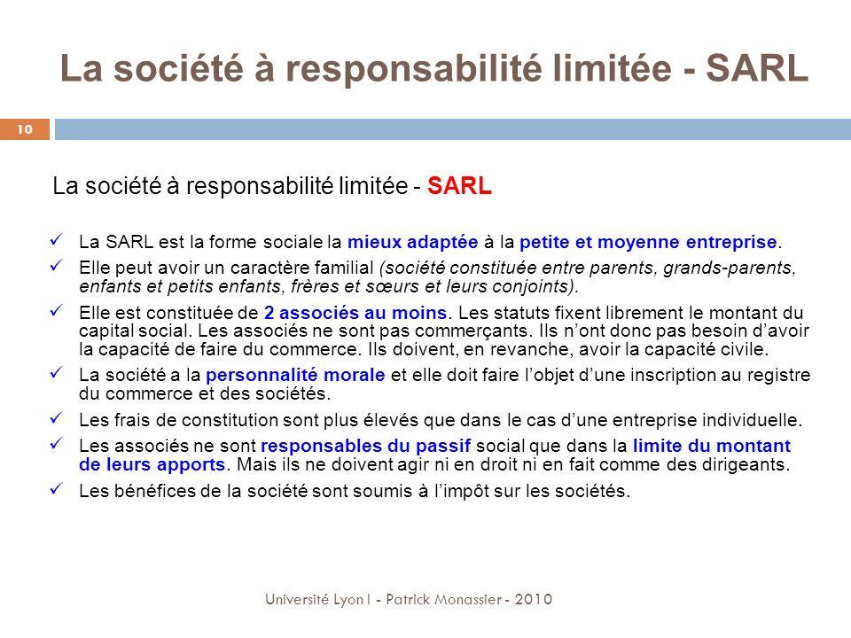La société à responsabilité limitée - SARL