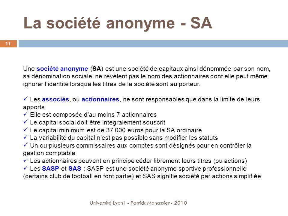 La société anonyme - SA