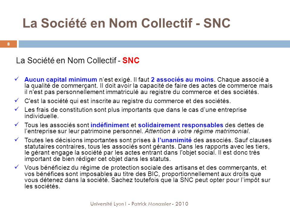 La Société en Nom Collectif - SNC