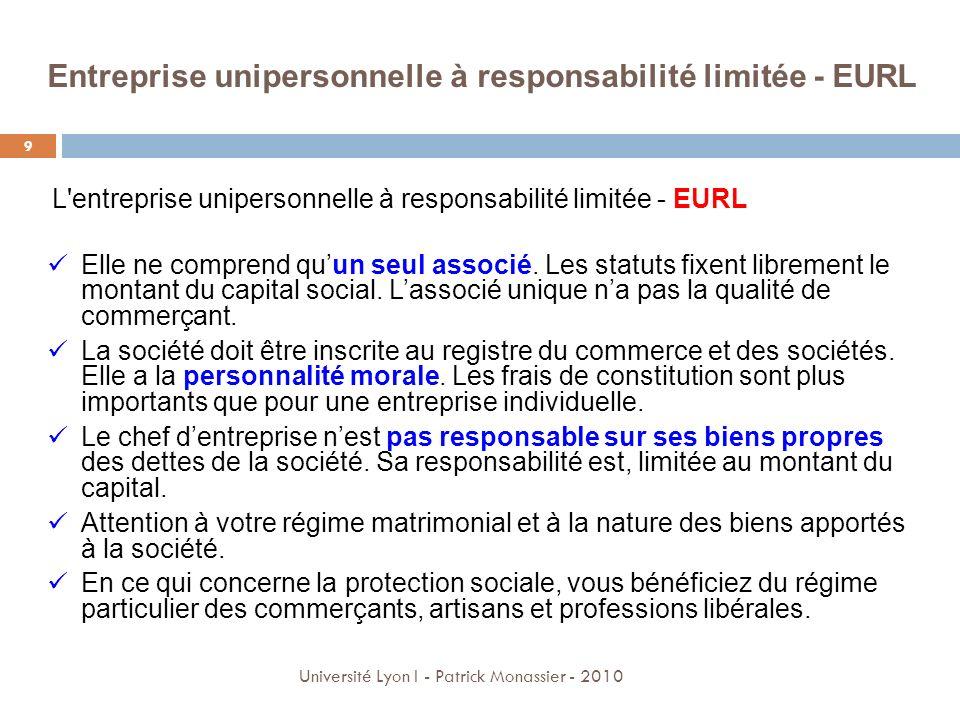 Entreprise unipersonnelle à responsabilité limitée - EURL