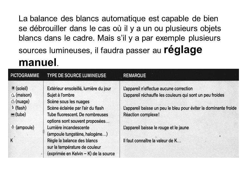 La balance des blancs automatique est capable de bien se débrouiller dans le cas où il y a un ou plusieurs objets blancs dans le cadre.