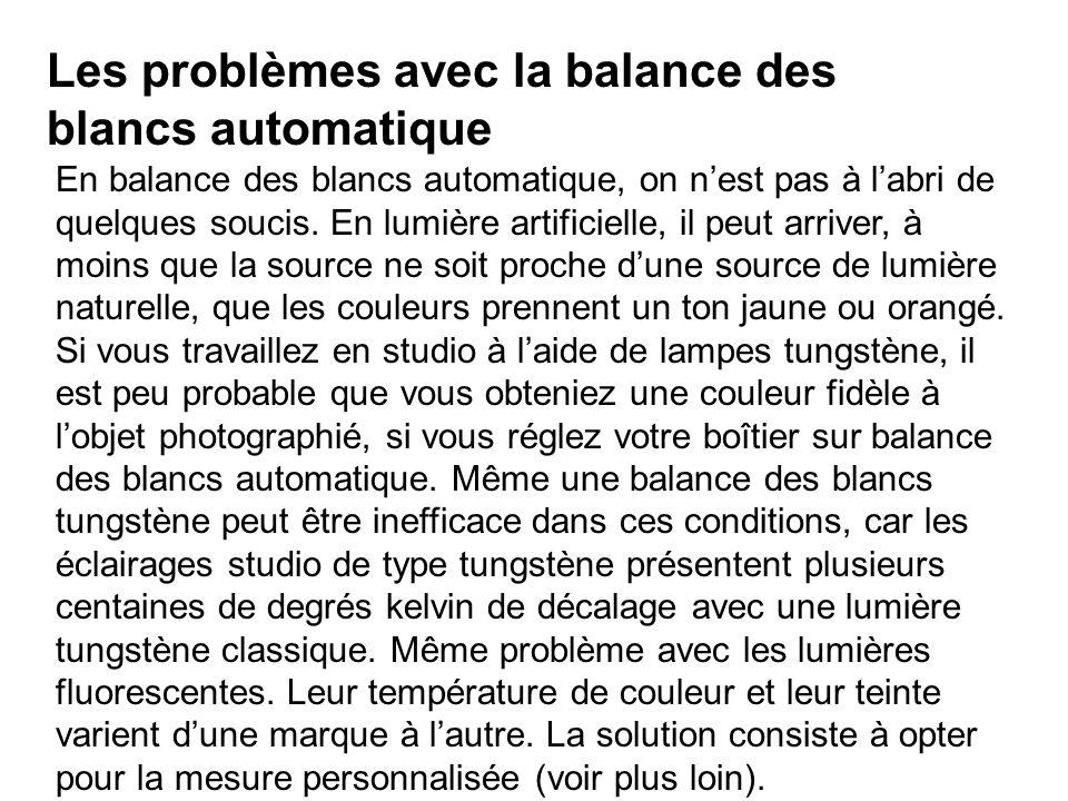 Les problèmes avec la balance des blancs automatique