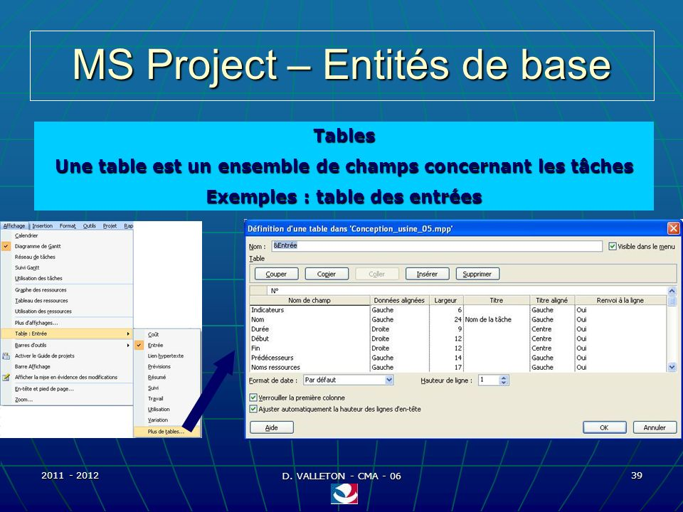 MS Project – Entités de base