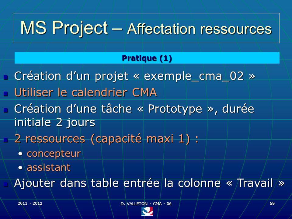MS Project – Affectation ressources