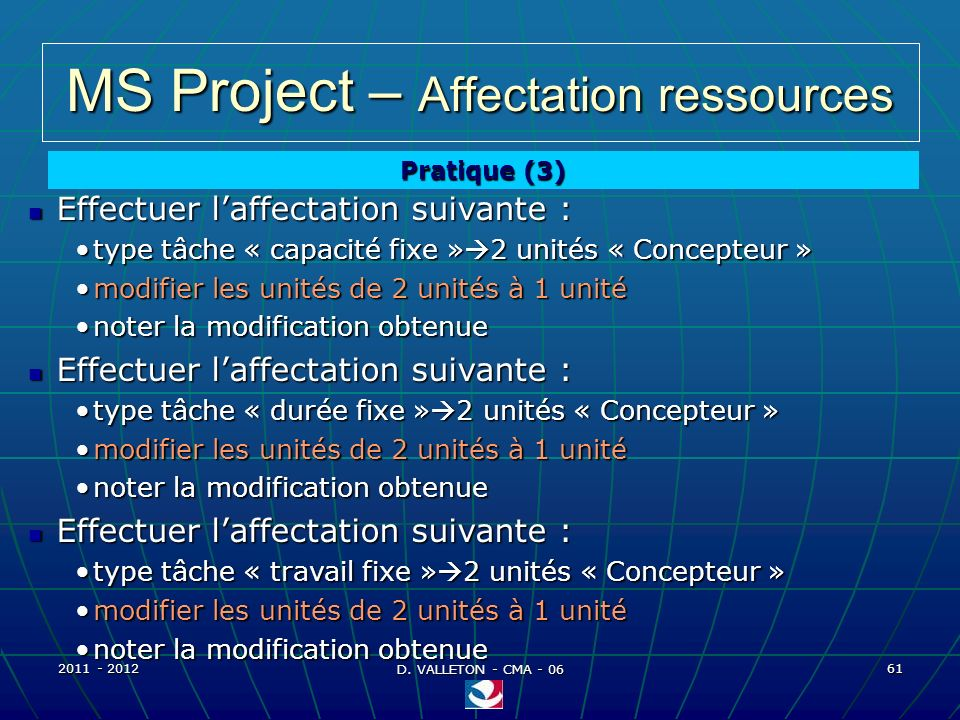MS Project – Affectation ressources