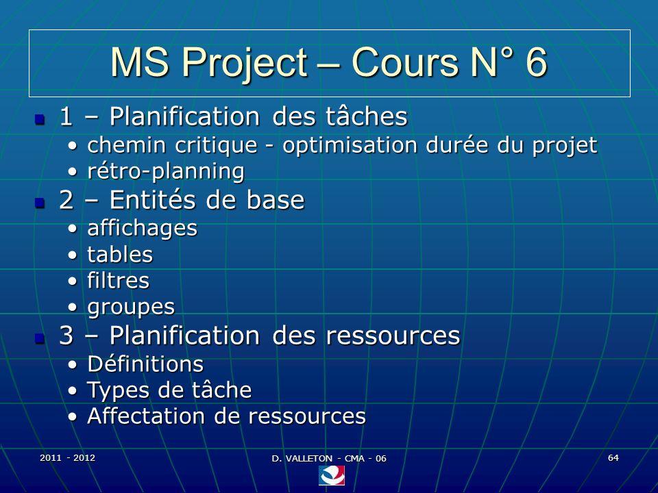 MS Project – Cours N° 6 1 – Planification des tâches