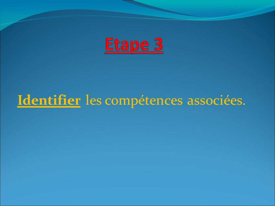 Identifier les compétences associées.