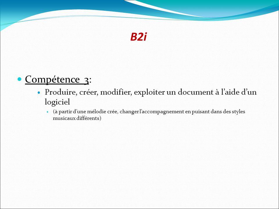 B2i Compétence 3: Produire, créer, modifier, exploiter un document à l'aide d'un logiciel.