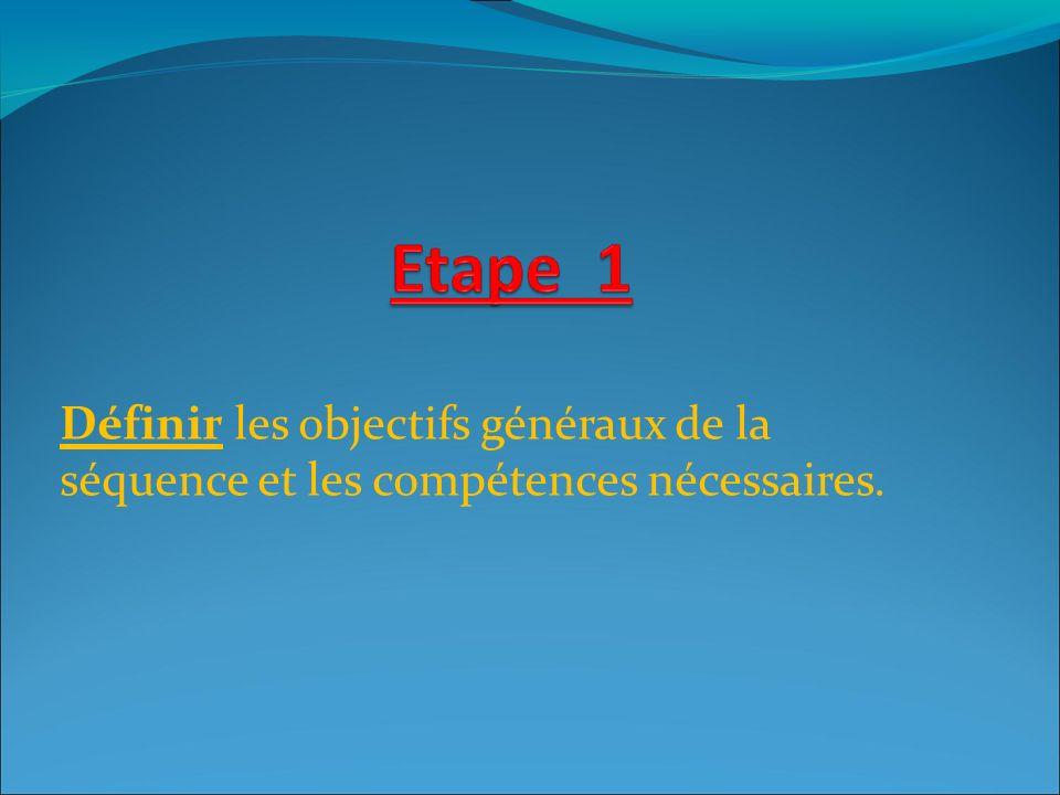 Définir les objectifs généraux de la séquence et les compétences nécessaires.