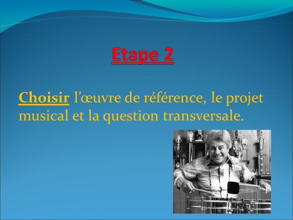 Choisir l'œuvre de référence, le projet musical et la question transversale.