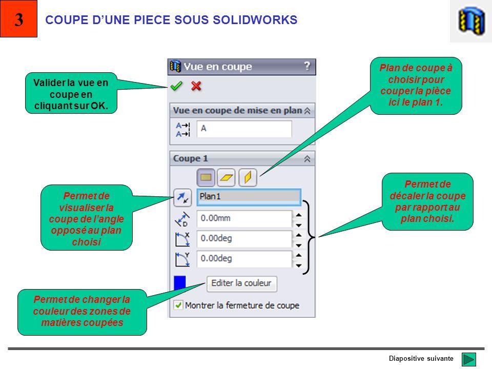 3 COUPE D'UNE PIECE SOUS SOLIDWORKS