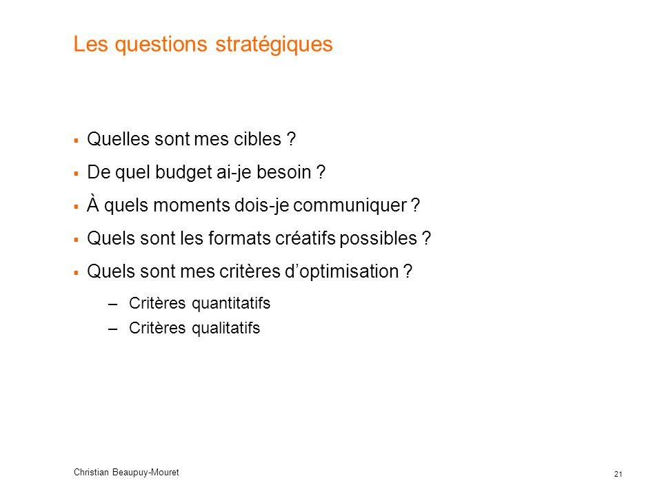 Les questions stratégiques