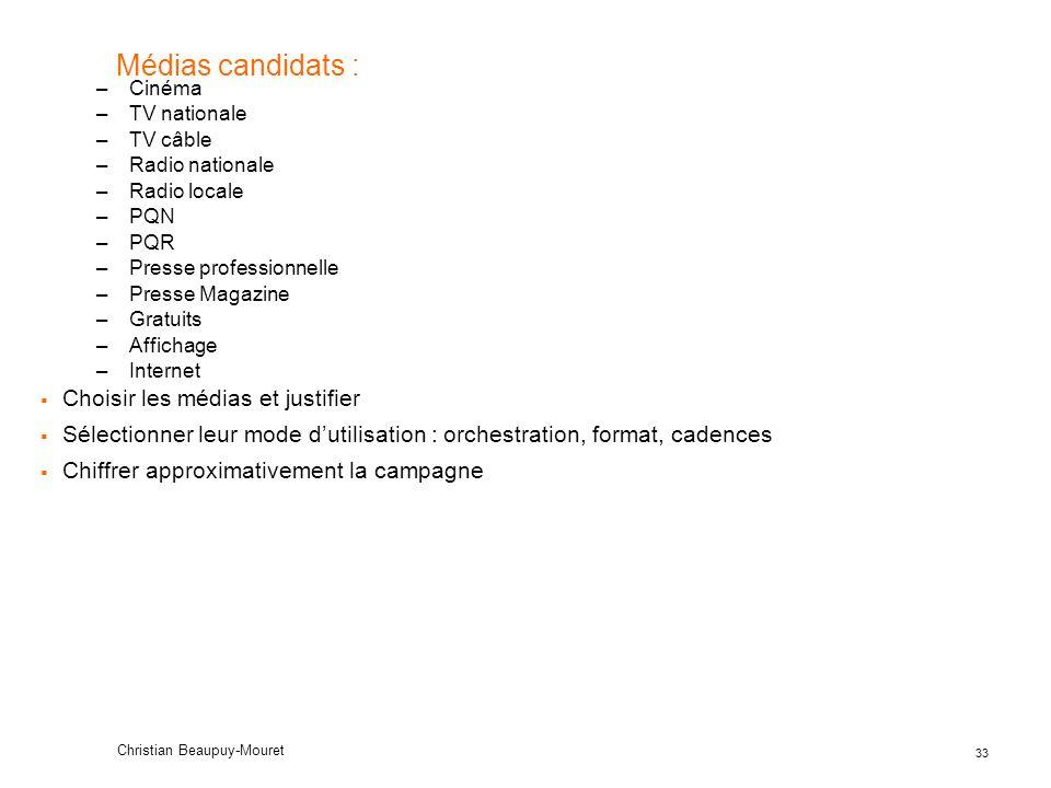 Médias candidats : Choisir les médias et justifier