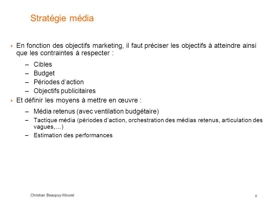 Stratégie média En fonction des objectifs marketing, il faut préciser les objectifs à atteindre ainsi que les contraintes à respecter :