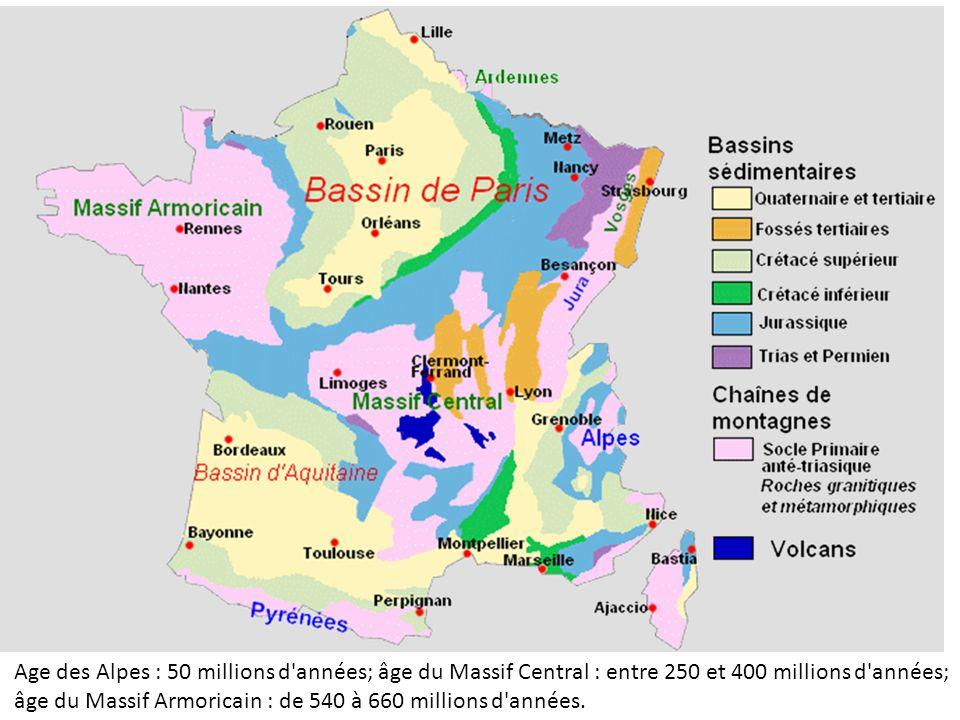 Age des Alpes : 50 millions d années; âge du Massif Central : entre 250 et 400 millions d années; âge du Massif Armoricain : de 540 à 660 millions d années.