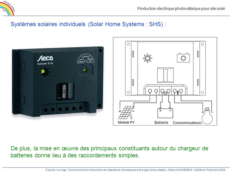 Systèmes solaires individuels (Solar Home Systems : SHS) :