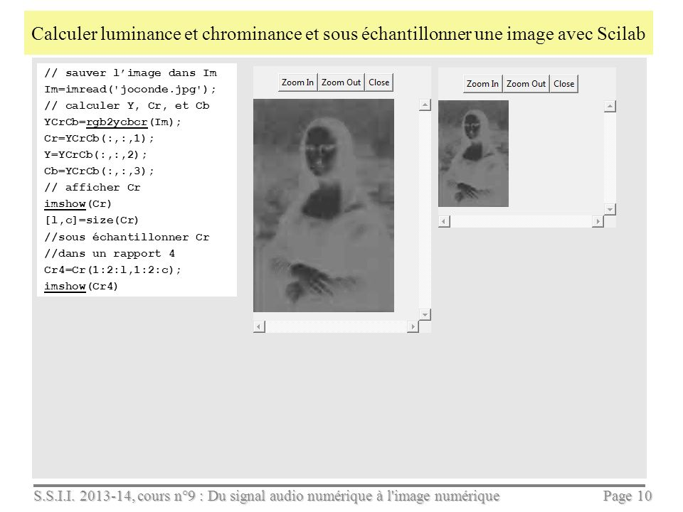 Calculer luminance et chrominance et sous échantillonner une image avec Scilab