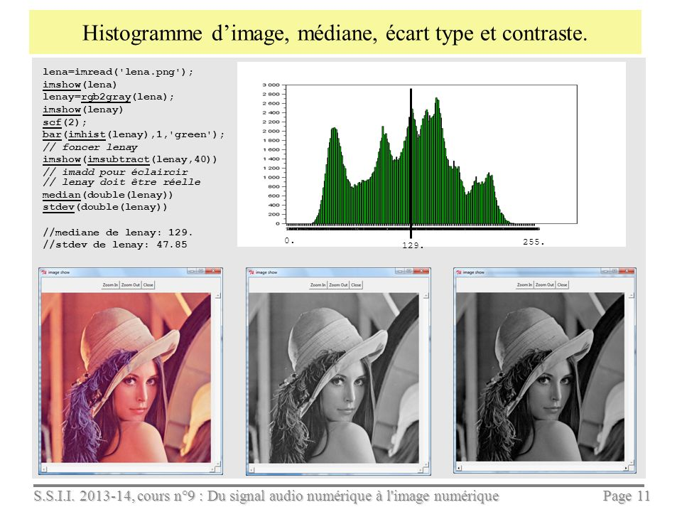 Histogramme d'image, médiane, écart type et contraste.