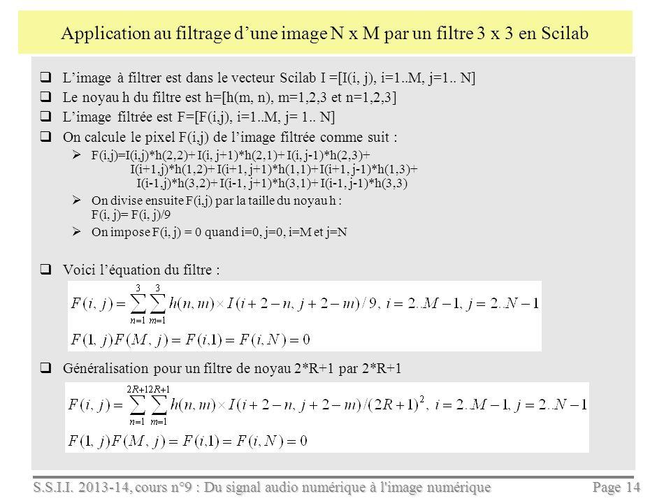 Application au filtrage d'une image N x M par un filtre 3 x 3 en Scilab
