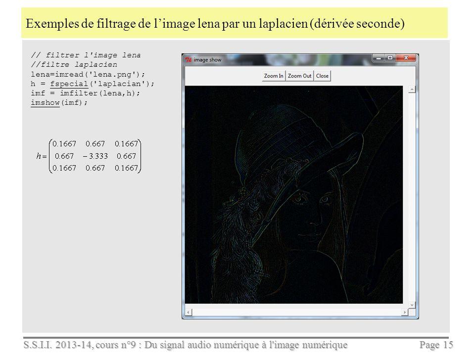 Exemples de filtrage de l'image lena par un laplacien (dérivée seconde)