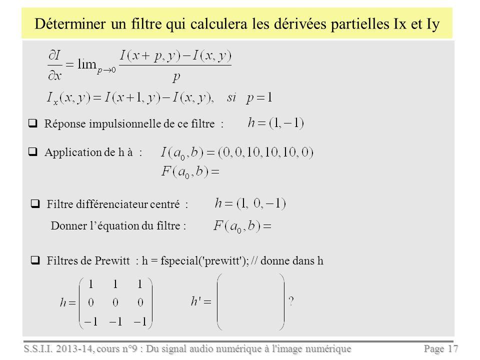 Déterminer un filtre qui calculera les dérivées partielles Ix et Iy