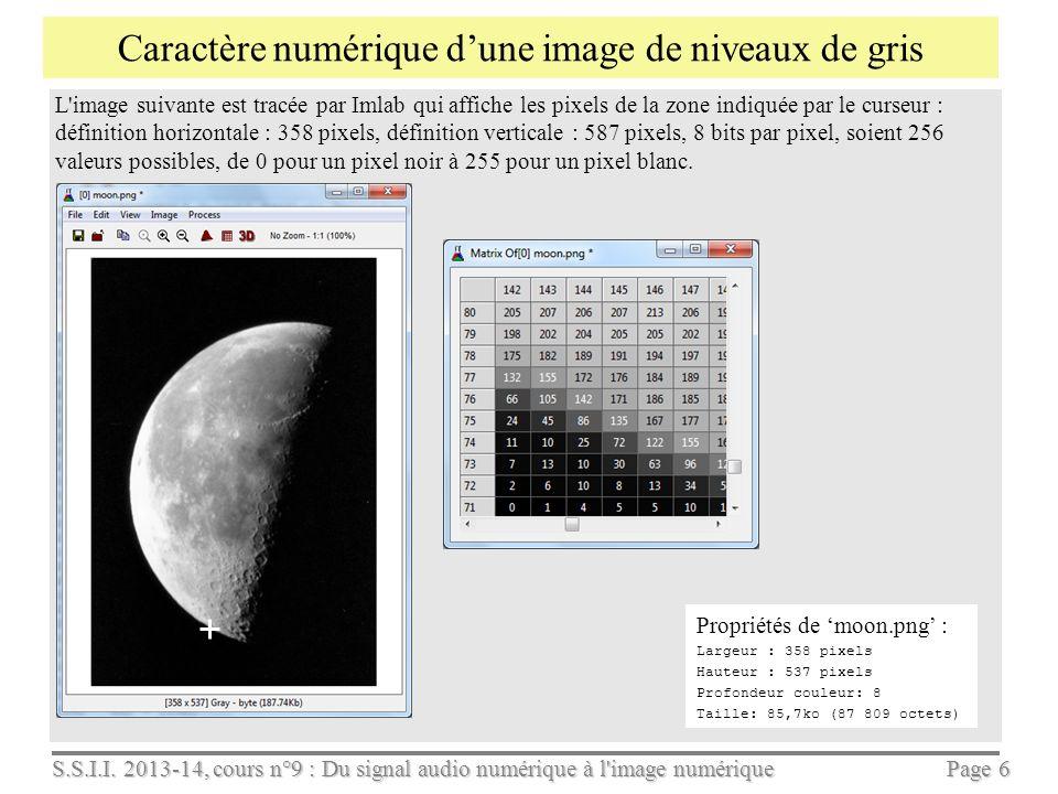 Caractère numérique d'une image de niveaux de gris
