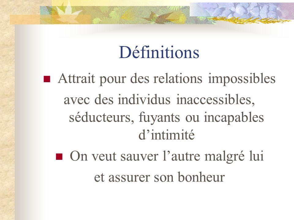 Définitions Attrait pour des relations impossibles