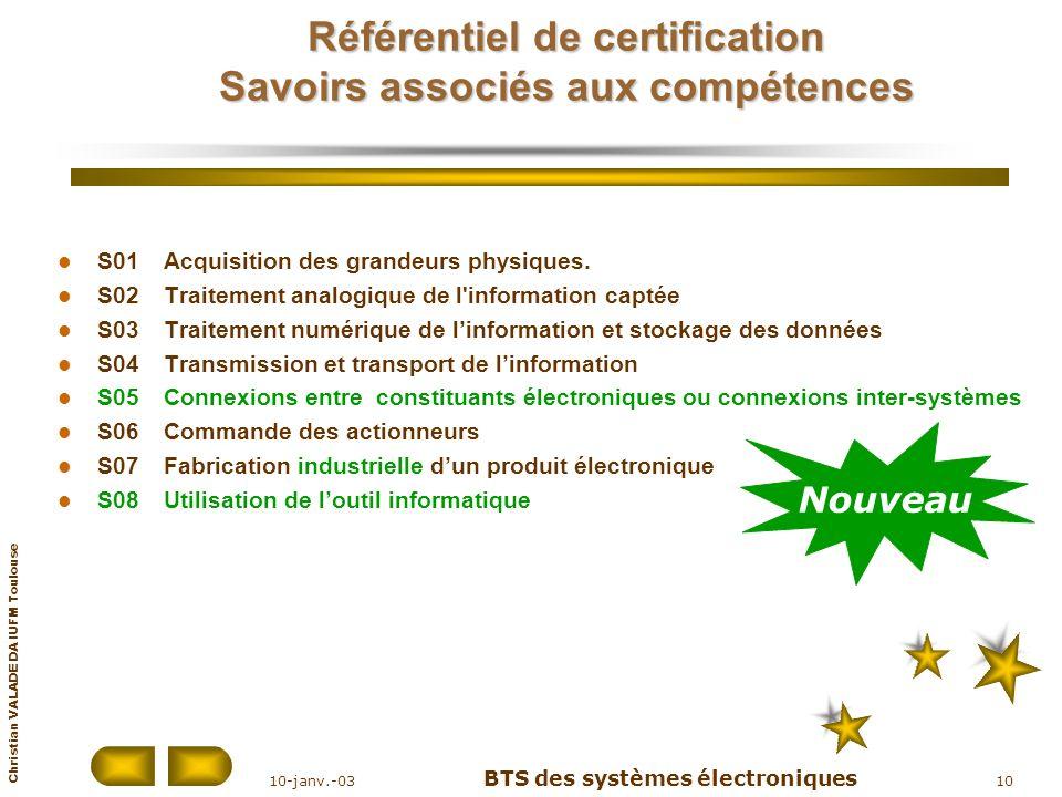 Référentiel de certification Savoirs associés aux compétences
