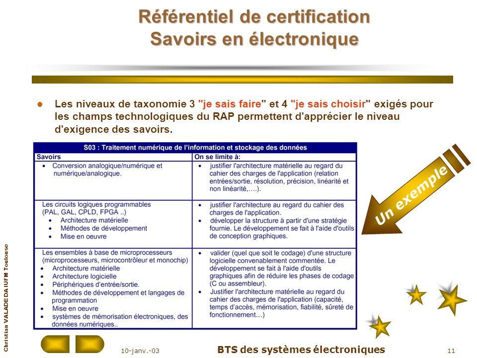 Référentiel de certification Savoirs en électronique