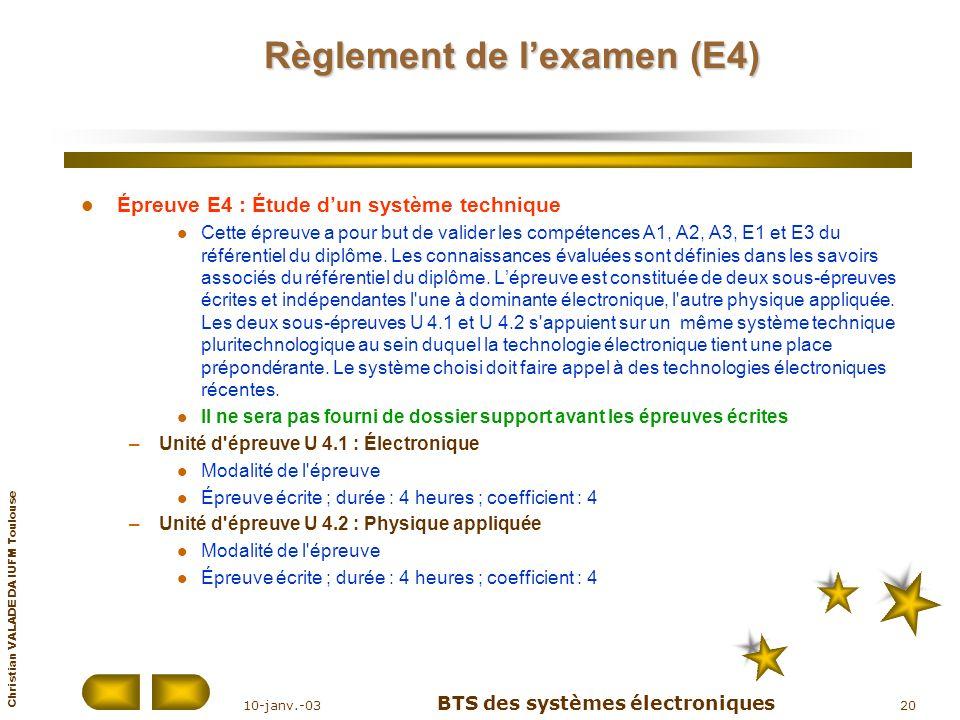 Règlement de l'examen (E4)