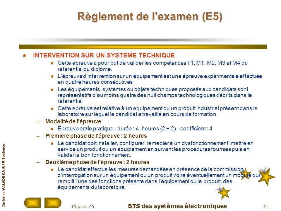 Règlement de l'examen (E5)