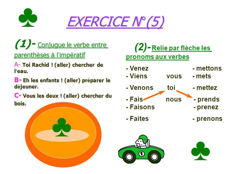 ♣ ♣ ♣ EXERCICE N°(5) (1)- Conjugue le verbe entre