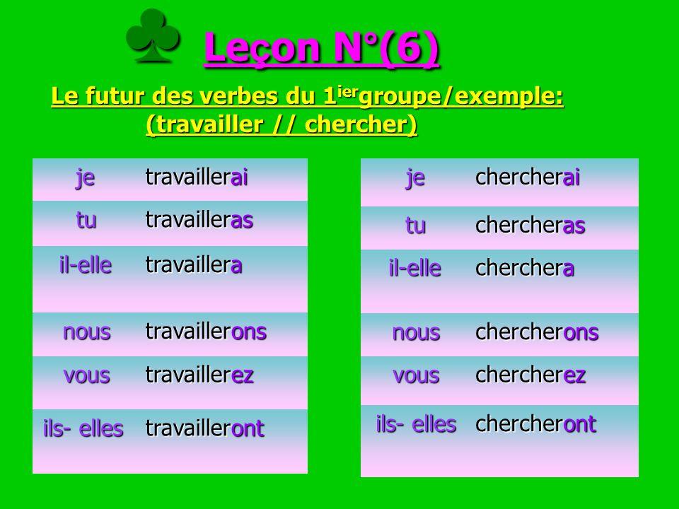 ♣ Leçon N°(6) Le futur des verbes du 1iergroupe/exemple: (travailler // chercher)
