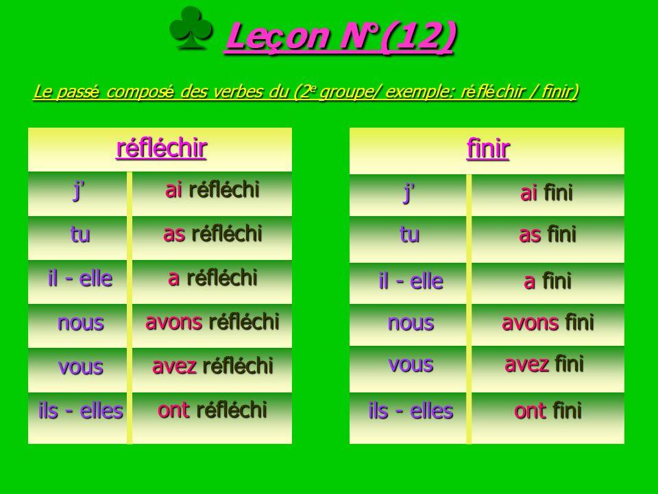 ♣ Leçon N°(12) Le passé composé des verbes du (2e groupe/ exemple: réfléchir / finir)