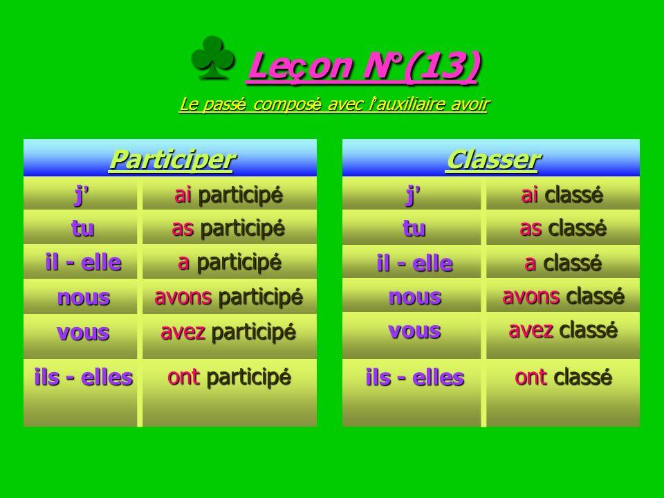 ♣ Leçon N°(13) Le passé composé avec l'auxiliaire avoir