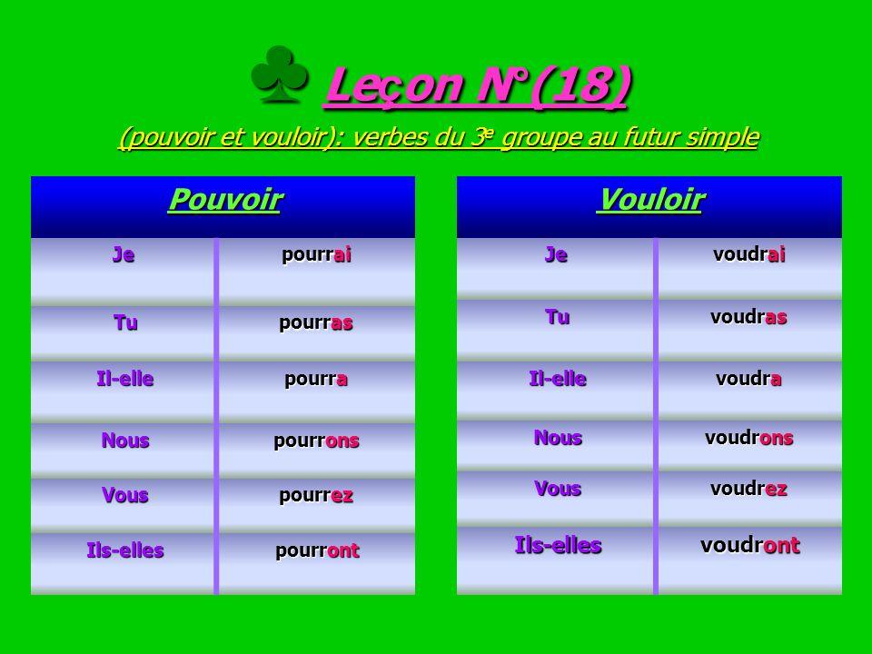 ♣ Leçon N°(18) (pouvoir et vouloir): verbes du 3e groupe au futur simple