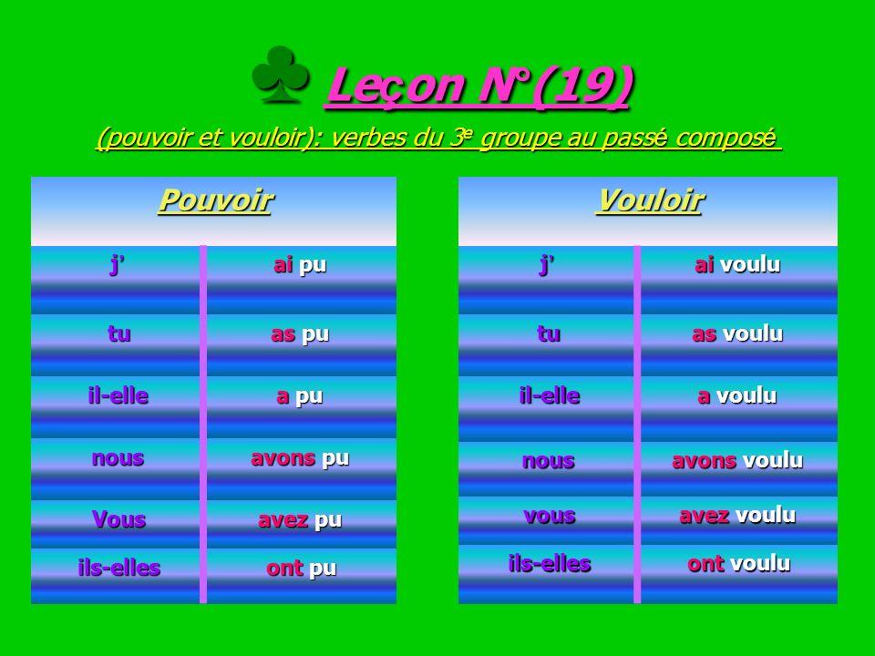 ♣ Leçon N°(19) (pouvoir et vouloir): verbes du 3e groupe au passé composé