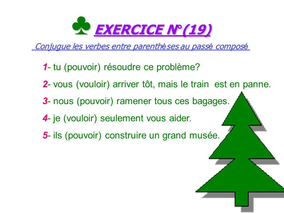 ♣ EXERCICE N°(19) Conjugue les verbes entre parenthèses au passé composé