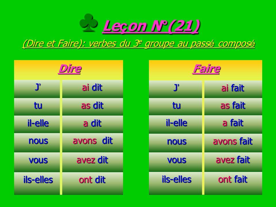 ♣ Leçon N°(21) (Dire et Faire): verbes du 3e groupe au passé composé