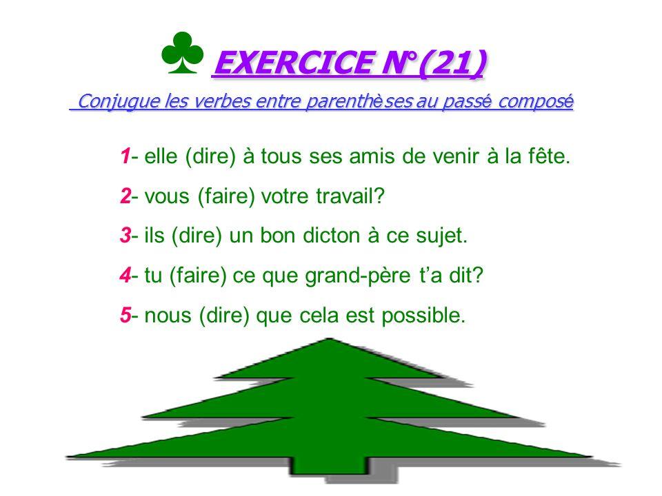 ♣ EXERCICE N°(21) Conjugue les verbes entre parenthèses au passé composé