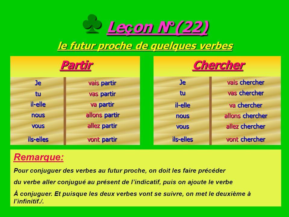 ♣ Leçon N°(22) le futur proche de quelques verbes