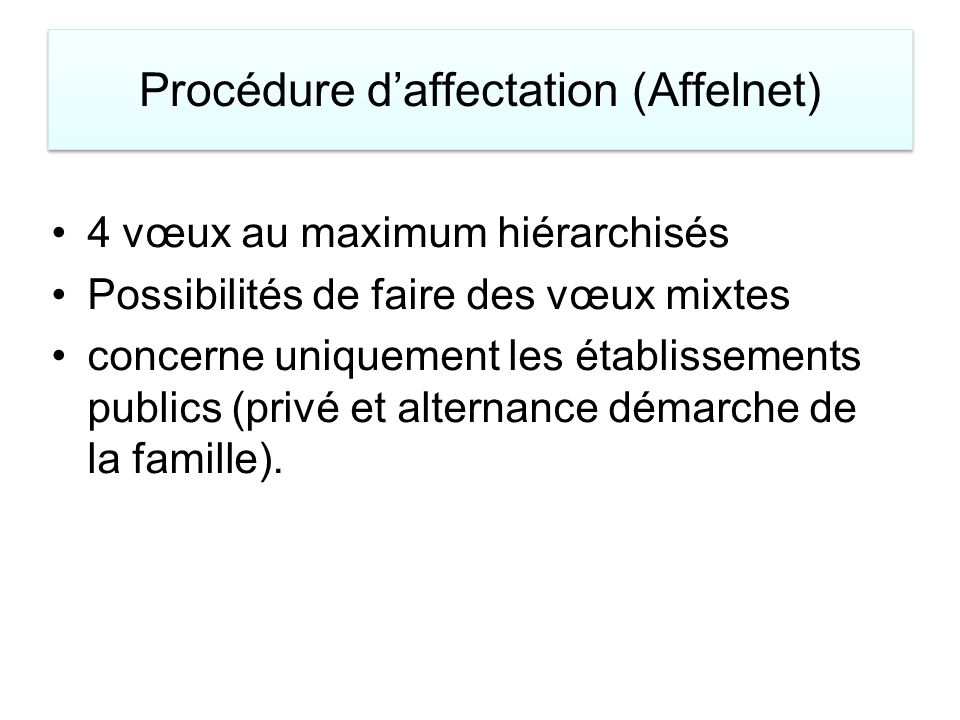 Procédure d'affectation (Affelnet)