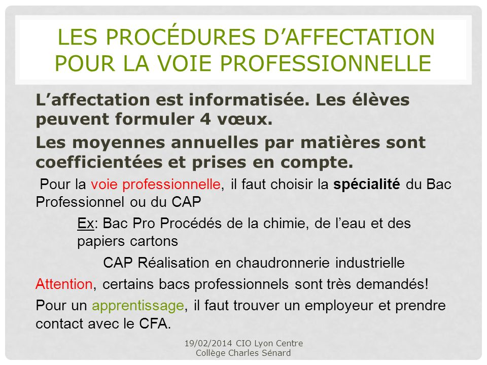 les procédures d'affectation pour la voie professionnelle