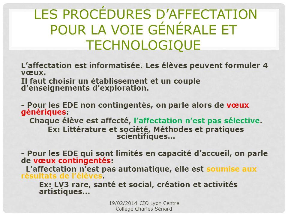 les procédures d'affectation pour la voie générale et technologique