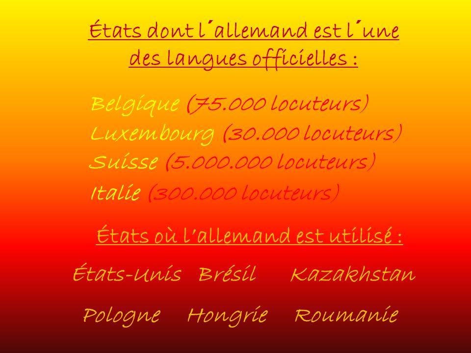 États dont l´allemand est l´une des langues officielles :