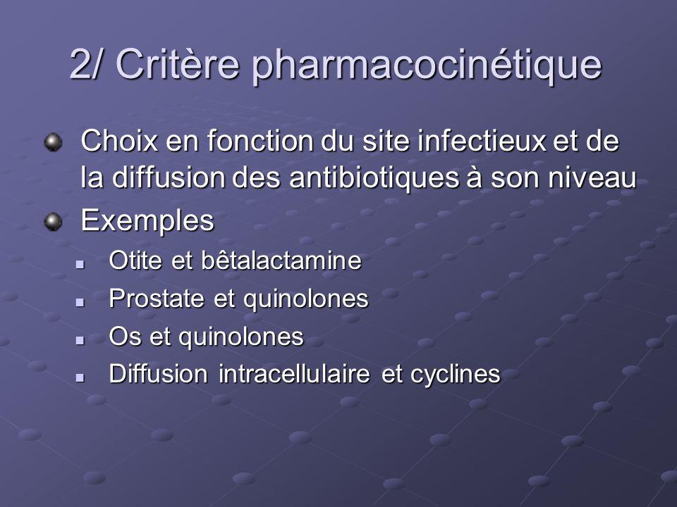 2/ Critère pharmacocinétique