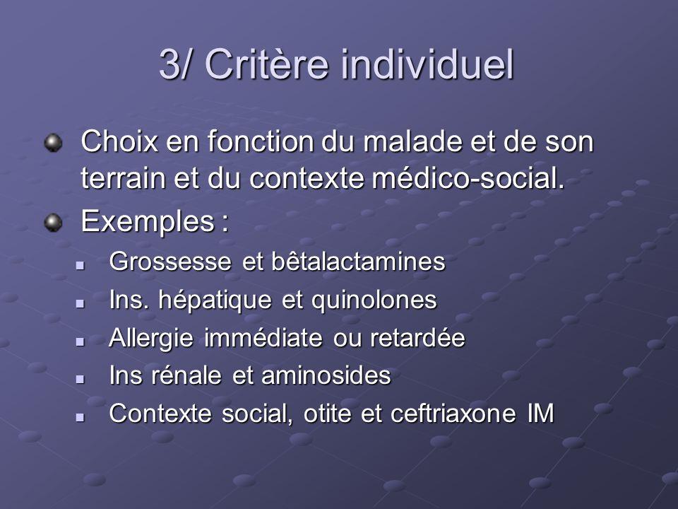 3/ Critère individuel Choix en fonction du malade et de son terrain et du contexte médico-social. Exemples :