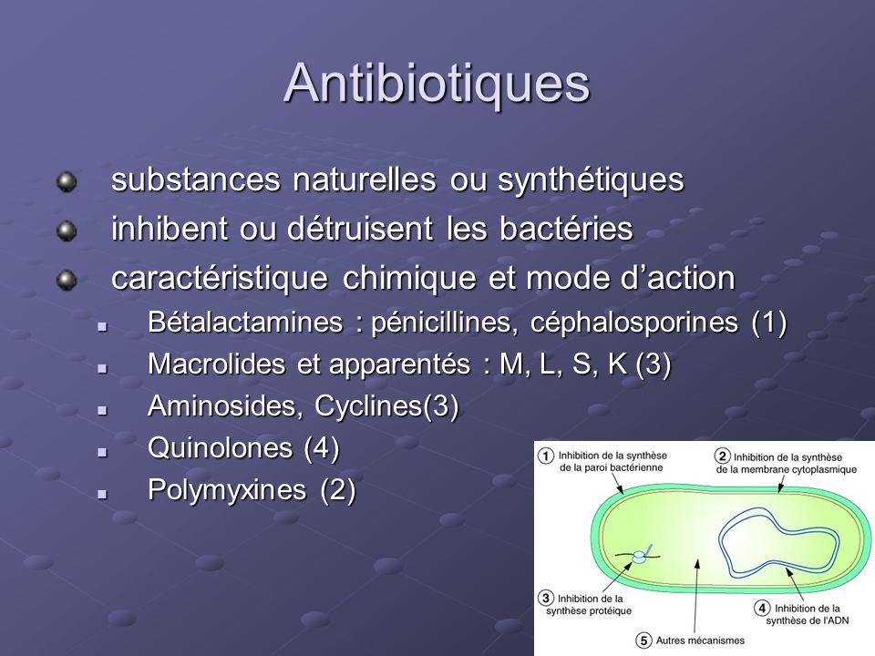Antibiotiques substances naturelles ou synthétiques